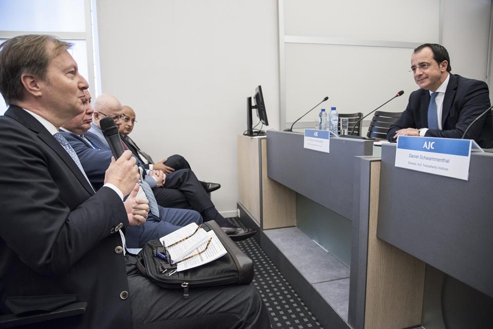 German PSC Ambassador Michael Flügger asking a question to H.E. Nikos Christodoulides