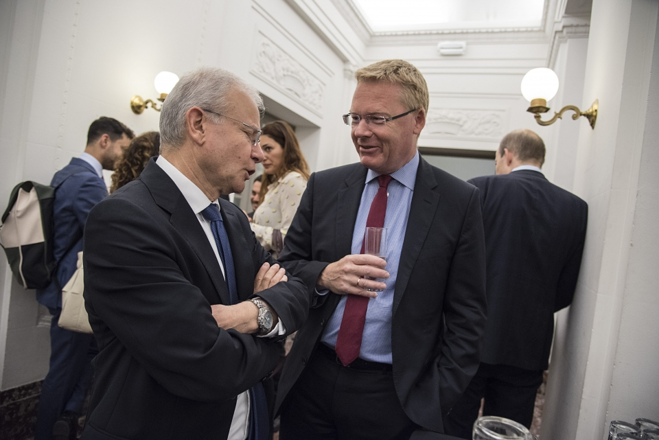 From left: Ambassador Kim Jørgensen, Permanent Representative of Denmark to the EU, with Israeli Ambassador to the EU and NATO Aharon Leshno-Yaar